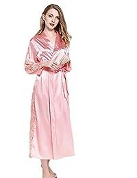 ECHERY mujeres V-cuello kimono batas de raso camisón de color puro estilo largo con