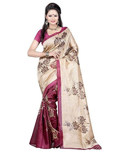 Saree (Purvi Fashion Pink and Gold Cotton Silk Printed Bhagalpuri Type Casual wearing With Blouse Women's Saree)  available at amazon for Rs.359