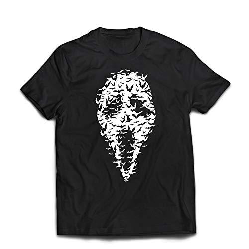 lepni.me Camisetas Hombre Fantasma - murciélagos Cara de Miedo, Traje de Fiesta de Halloween (XXX-Large Negro