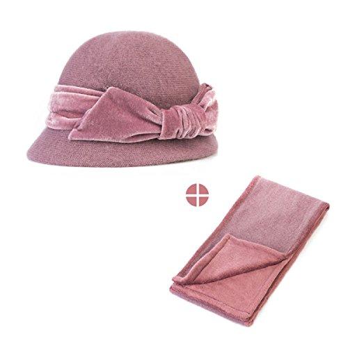 Womens Hüte Schals Zweiteiliger Satz Mittleren Alters Gestrickt Winter Muttertag Warm Oma Danksagung Geschenk Anzug,LightPink-OneSize