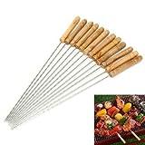 BBQ Kebab Skewers - Wooden Handle Stainless Steel Metal Skewers - 30 cm Twisted Metal Kabab Sticks for Barbecue & Cooking - Set of 12