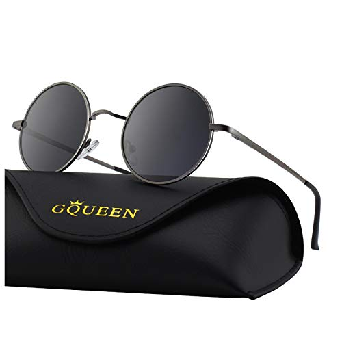 b937476adc1 GQUEEN Classic Lennon Round Polarized UV400 Protection Sunglasses with  Vintage Circle Metal Frame Spring Hinge MEZ1