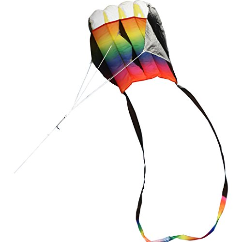 HQ 10671630 - Parafoil Easy Rainbow Kinderdrachen Einleiner, ab 5 Jahren, 56x35cm und 300 cm Fransenschwanz, inkl. 17kp Polyesterschnur 40m auf Spule, 2-6 Beaufort