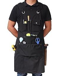 Benail Delantal de trabajo resistente e impermeable hecho de lona encerada resistente con bolsillos y correas ajustables hasta XXL para hombres y mujeres (negro)
