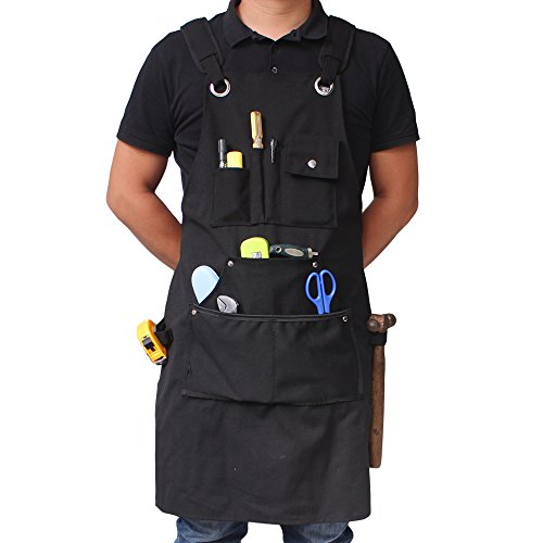 benail Robuster Arbeit Schürze Wasserdicht aus robusten gewachstem Canvas mit Taschen und verstellbare Riemen bis XXL für Männer & Frauen (schwarz) - Robuste Canvas Taschen