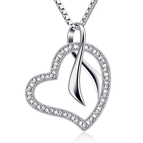 B.Catcher Mujer Collar corazón Colgante 925 Plata ''Ecos de Amor'' con San Valentín Regalo Originales Cadena 45cm Longitud
