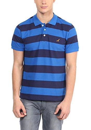 American Crew Men's Premium Pique Stripes Polo T-Shirt (Navy Blue & Royal Blue)