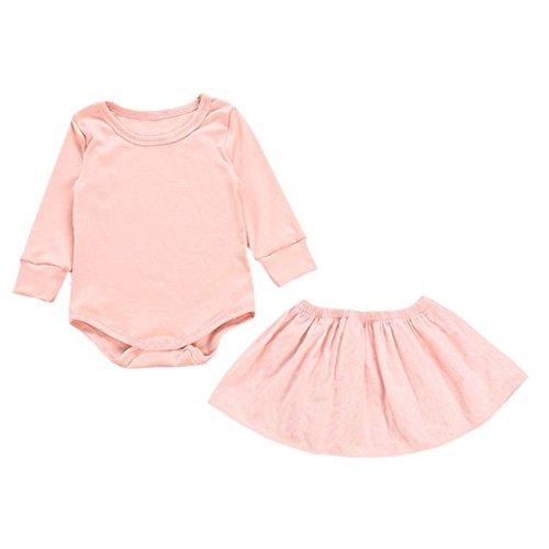 Brightup Baby Mädchen Langarm Body Baumwoll-Anzug und Rock Kleinkind 2 Stück Frühjahr Herbst Kleidung Set
