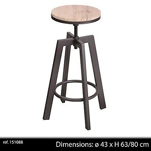 LIFE DECO Tabouret Chaise DE Bar Ajustable en Hauteur Design RÉGLABLE LOFT Industriel Contemporain Bois Metal