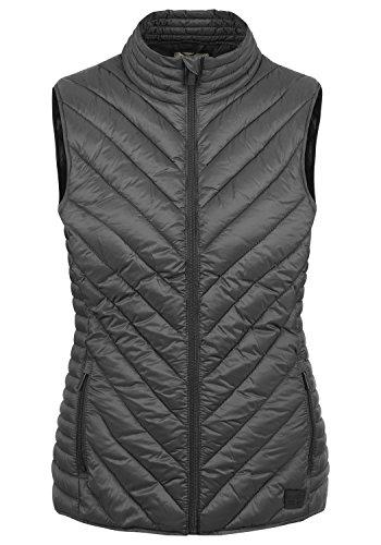 BlendShe Sadie Damen Weste Steppweste Outdoor Weste Mit Stehkragen, Größe:XL, Farbe:Ebony Grey (75111)