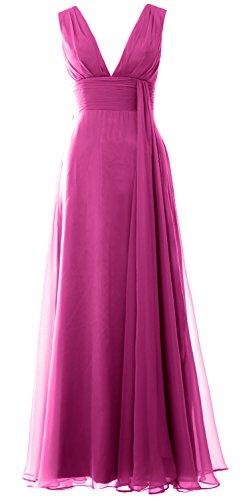 MACloth Women Deep V Neck Long Bridesmaid Dress Chiffon Simple Prom Gown Fuchsia