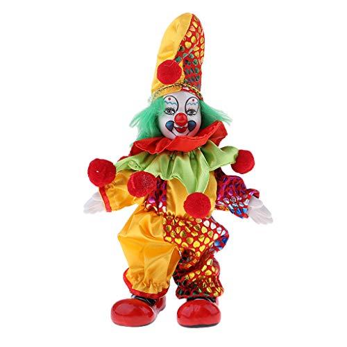lloween Clown Puppe mit bunten Kostüm Clownpuppe Porzellanpuppe - # 1 ()