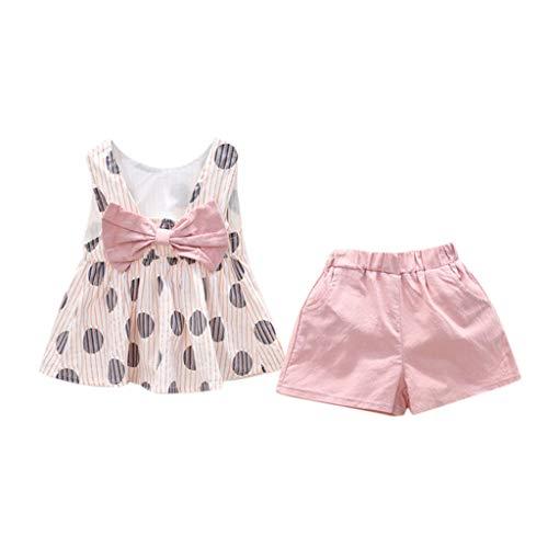 Zylione Mädchen Kleidung Set wiederum Baby Sommer Polka Dot Bogen Weste + Shorts zweiteilig 2-7 Jahre alt -