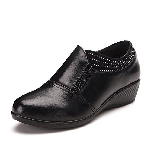 Chaussures en cuir/Chaussures à talon mid pour dames âgées et vieilles/Fond meuble chaussures chaussures de mamans/Chaussures A