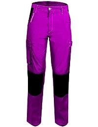 Fashion Sécurité PEP'S FAS 18 826610144 - Pantalón de trabajo para mujer poliéster y algodón talla XL 48/50 con 5 bolsillos y refuerzos en las rodillas color rosa y negro