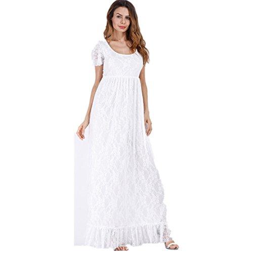 Dentelle Florale Robe pour Femmes,Grande Taille Manche Courte La Photographie Traîne O Neck Longue Enceintes Jupe (4XL, Blanc)