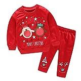 Riou Weihnachten Baby Kleidung Set Kinder Pullover Pyjama Outfits Set Familie Kleinkind Baby Mädchen Jungen Weihnachtsmann Tops + Pants Outfits Set (110, Rot B)