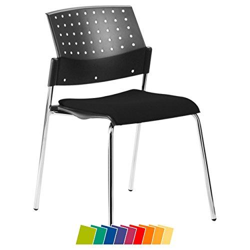 Sport-Tec Stapelstuhl mit Polster, Besucherstuhl aus Holz, Konferenzstuhl, Bürostuhl