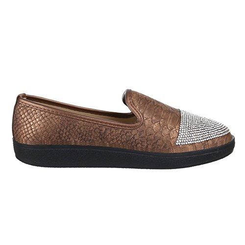 Damen Schuhe, JA54, HALBSCHUHE MODERNE SLIPPER Braun