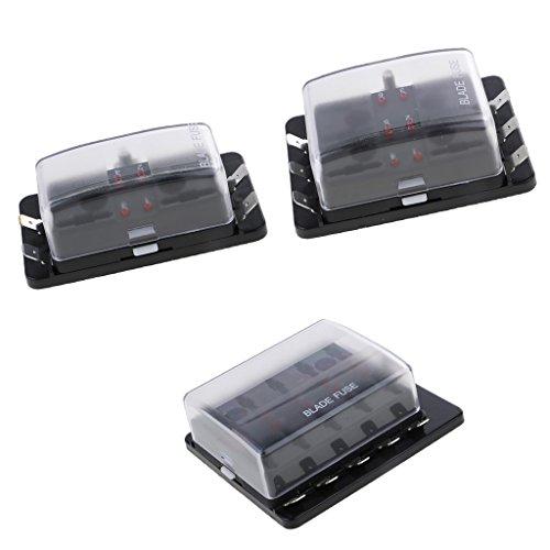 MagiDeal 3 Stück 4/6/10 Wege 32V Sicherungskasten Fuse Box für Auto Boot, Maximal 30A/Weg, 1 Gemeinsamer Bus mit LED