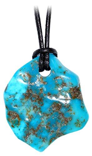 schenkidee - Lederkette für Damen und Herren mit FREIFORM Anhänger aus dem Edelstein NATUR TÜRKIS (Abmessung ca. 30 x 25 x 5 mm) (Echte Türkis-halskette Für Frauen)