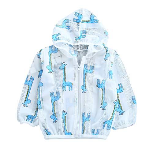 feiXIANG Kleinkind Sonnenschutzkleidung Sommer Baby Jacken Mäntel mit Kapuze Reißverschluss Atmungsaktiv Kleidung(Blau,120) (Converse Baby-kleidung)