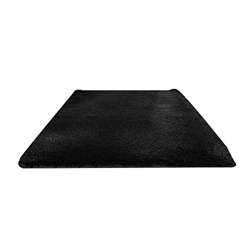 perlo33ER Alfombra De La Puerta del Dormitorio En El Hogar, Rectángulo De Color Sólido Espesar Alfombra Alfombra Alfombra del Piso Sala De Estar Decoración del Dormitorio Negro Los 50x120cm