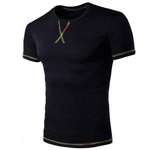 Mode Lässige Herren Tee Kurzarm Amlaiworld Rundhalsausschnitt Tops T Shirts (Schwarz, XXL) (Buchstaben Lässig Mode)