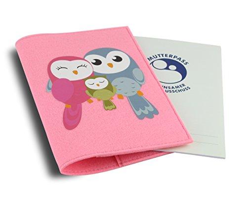 Mutterpasshülle / Mutter-Kind-Pass-Hülle aus hochwertigem Filz - Süßes Design mit Eulen Familie - Fach für Gesundheitskarte und großes Innenfach - Rosa