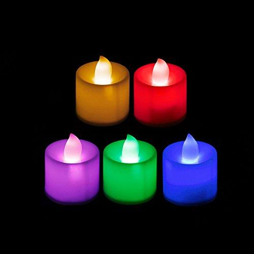 Kofun-LED Kerzen Teelichter Flackernde Flamme inklusive Batterien Ideal Weihnachten Party Dekorationen, Regenbogenfarben, 12 Packungen