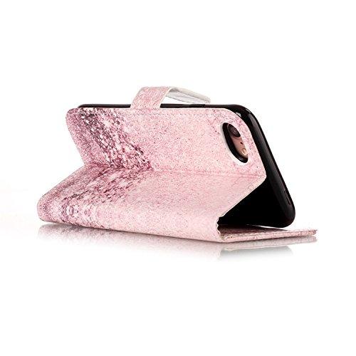 iPhone 8 Brieftasche Hülle,Vandot Leder Tasche Rosa Mandala Flip Case Schutzhülle mit Standfunktion und Magnetverschluss für iPhone 8 / iPhone 7 (4,7 Zoll) Bookstyle Flip Wallet Cover Handyhülle Karte Muster 10
