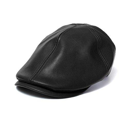 HARRYSTORE Mens Women Vintage Leather Beret Cap Flat Cap Peaked Hat Newsboy Stretch (Black)