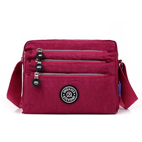 Outreo Schultertasche Wasserdicht Sporttasche Damen Umhängetasche Mode Designer Messenger Bag Taschen Leichter Kuriertasche für Mädchen Reisetasche Rot 3