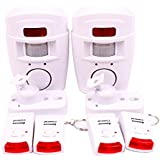 WER WIRELESS PIR MOTION SENSOR ALARM   2 REMOTE CONTROLS SHED HOME GARAGE CARAVAN 2-PACK