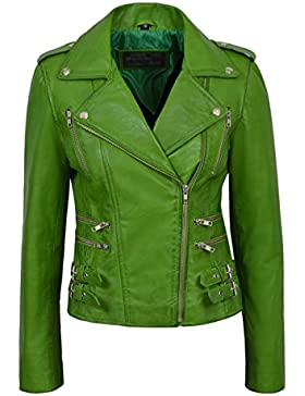 'MYSTIQUE' 7113 Señoras loro verde Chaqueta de cuero del diseñador de la moto del estilo del motorista
