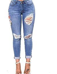 ZHRUI Jeans élastiques à Petits Pieds brodés d angle de Pantalons Slim  Skinny pour Femmes, Jeans déchirés à la… b36f8129dc2d