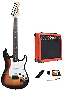 johnny brook electric guitar kit with 20w amplifier full kit sunburst musical. Black Bedroom Furniture Sets. Home Design Ideas