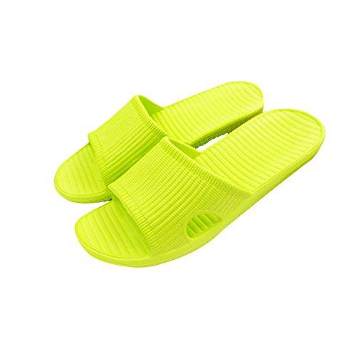 TELLW Solid Couleur Velours Corail Épaississement Chaud Plancher en Bois Pantoufles D'Hiver et en Plein Air Coton-Aimant les Femmes et les Pantoufles des Hommes Vert