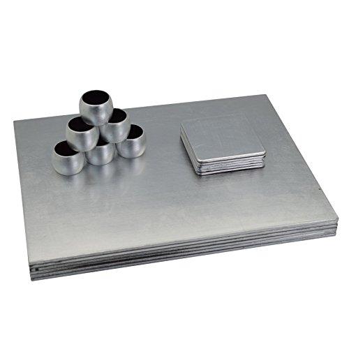 Argon Arts de la Table carrée napperons de Table/sous-Verres/Serviette Anneaux - Argent - Lot de 18