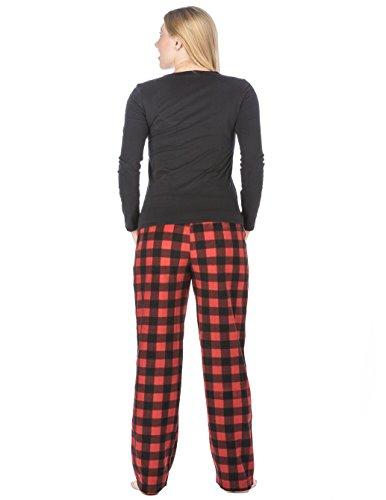 Homewear Ensemble Pyjama en Micro Polaire pour Jeune Femme - Motifs Mignons Neige - Noir