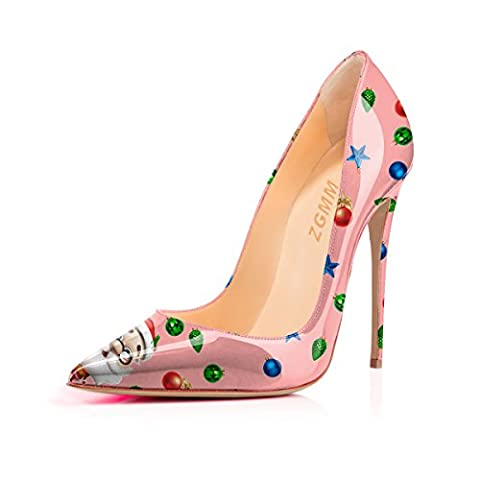MMGZ Patent Pleather Point Toe Santa Claus Printing High Heel Stiletto Sexy Slip Auf Pumps Schuhe für Frau EU 35