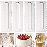 Grattoir à gâteau Déco de gâteau Déco glaçage Fondant Spatules Spatules Cake Edge Lisse Crème Outils Pâtisserie Cutter 8 Design Textures Outils de Cuisson Cuisine Bricolage Pack de 4