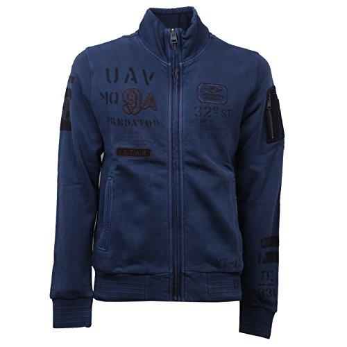 Aeronautica militare d6224 felpa uomo blu felpe felpato sweatshirt man [s]