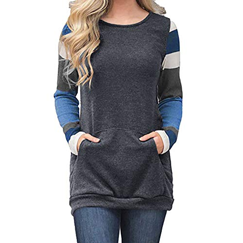 NPRADLA Women's Pullover Color Block Long Sleeve Tunic Sweatshirt Tops Kangaroo Pocket