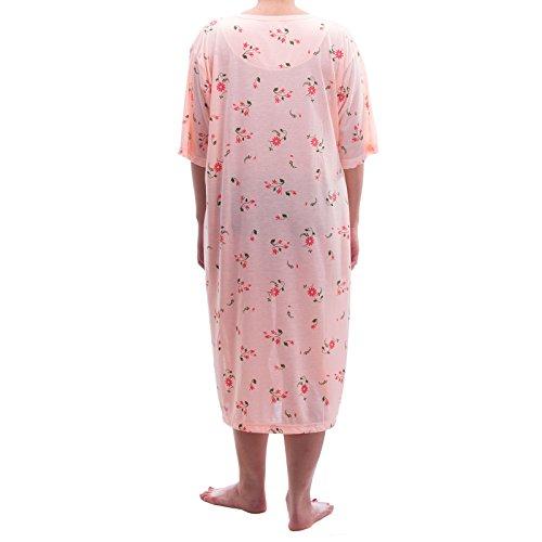 Lucky chemise de nuit à manches courtes imprimé fleurs grandes tailles 3XL - 46–6XL été tons pastels jersey chemise de nuit Orange - Abricot