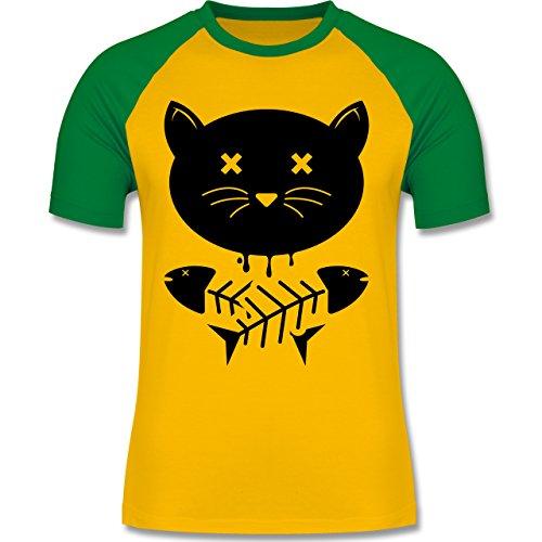 Katzen - Katze Skull - zweifarbiges Baseballshirt für Männer Gelb/Grün