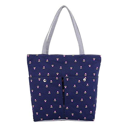 Hrph Cartable Sac d'Ecole Imprimé Cerise en Toile Sac Portés Epaule pour Filles Femmes Sacs à Main Mignon Mode Sacs de Shopping