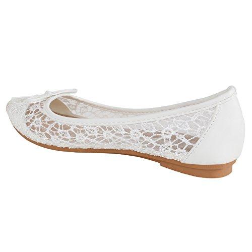 Klassische Damen Ballerinas Lederoptik Flats Freizeit Schuhe Übergrößen Weiss Spitze