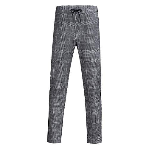 Herren Stilvolle lässig Karierte Tasche String Sport Hosen Strumpfhosen Slimback HoseHose Fashion Chino kariert gestreift mit Gummibund -