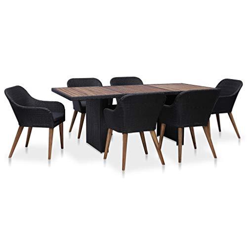 Festnight- 7-TLG. Garten Essgruppe mit Kissen Sitzgruppe   aus Poly Rattan  1 Tisch & 6 Stühle & 6 Kissen   Gartenmöbel Sitzgarnitur Set Poly Rattan Schwarz & Grau